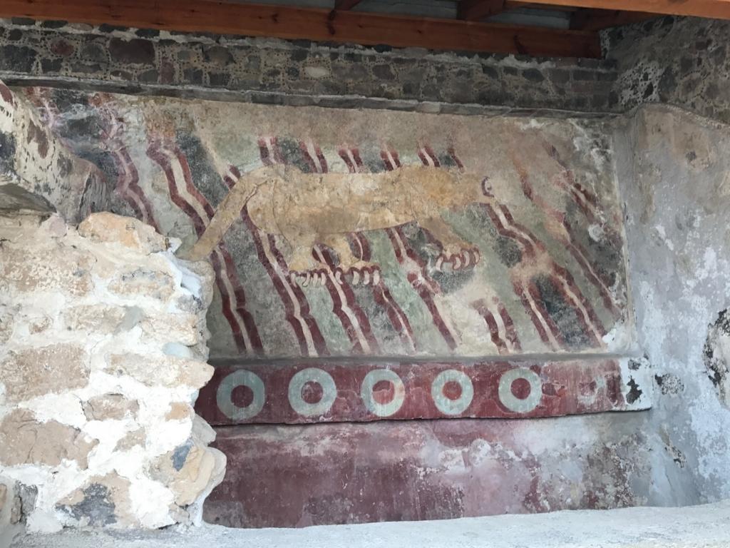 メキシコ テオティワカン遺跡 第17号基壇の壁画 ジャガーの壁画