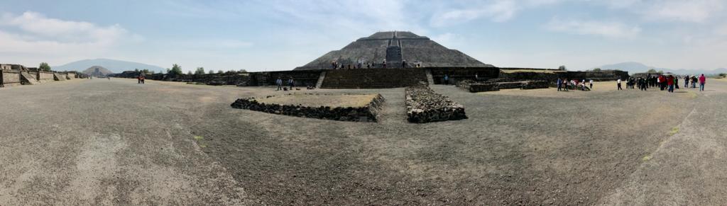 メキシコ テオティワカン遺跡 「太陽のピラミッド」を中心とした「死者の道」パノラマ撮影