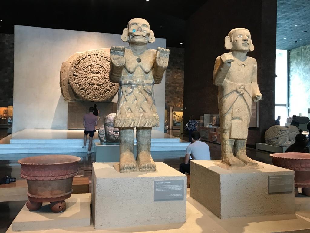 メキシコシティ 「国立人類学博物館 アステカ室」アステカ人の大地の女神、コアトリクエ像等