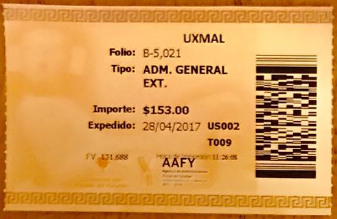メキシコ ウシュマル遺跡 チケット1