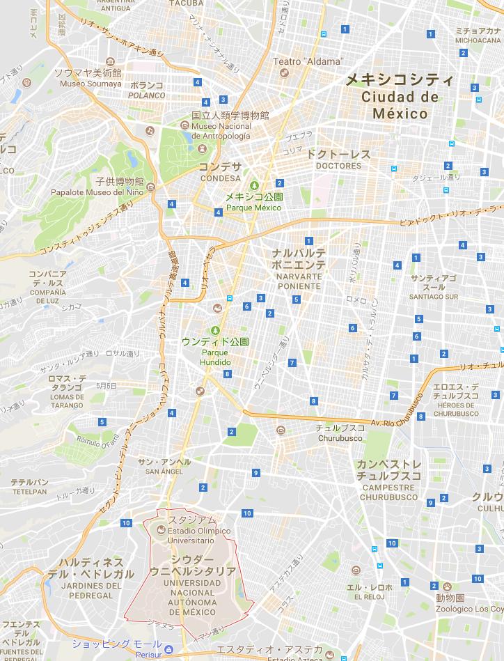 メキシコシティ 国立自治大学 オリンピックスタジアム マップ