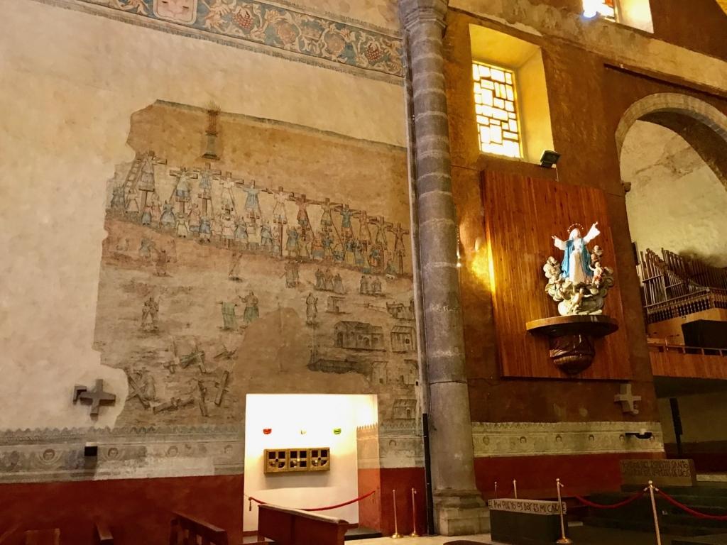 メキシコ クエルナバカ大聖堂 「日本聖人26人殉教」長崎での処刑図
