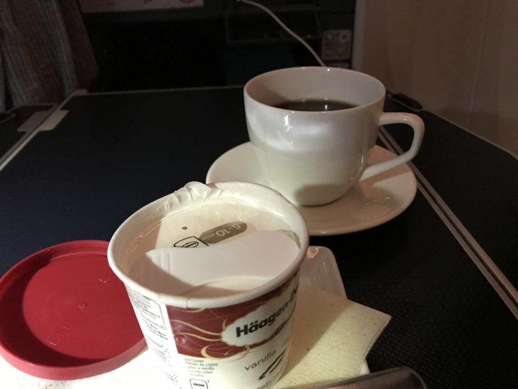 メキシコシティ-成田 ANA0179便 お好きな時に「バニラアイスクリーム」と「コーヒー」