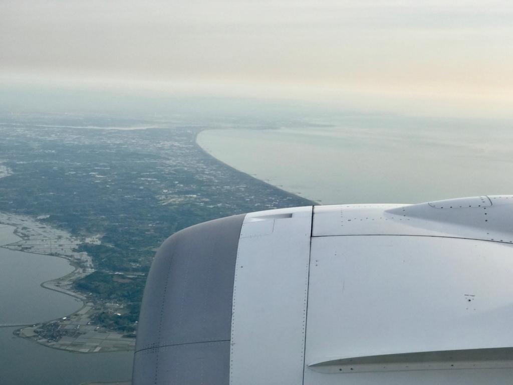 メキシコシティ-成田 ANA0179便 着陸着陸間近 陸地 三浦半島?