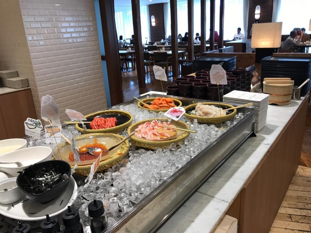 北海道函館 函館国際ホテル 朝食ビュッフェ 海鮮丼コーナー