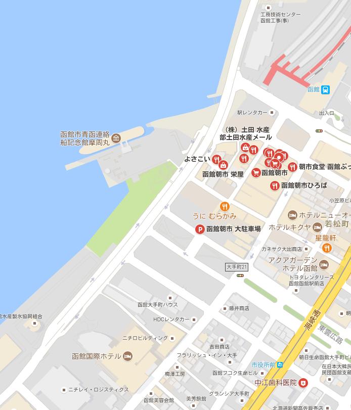 函館 朝市 マップ