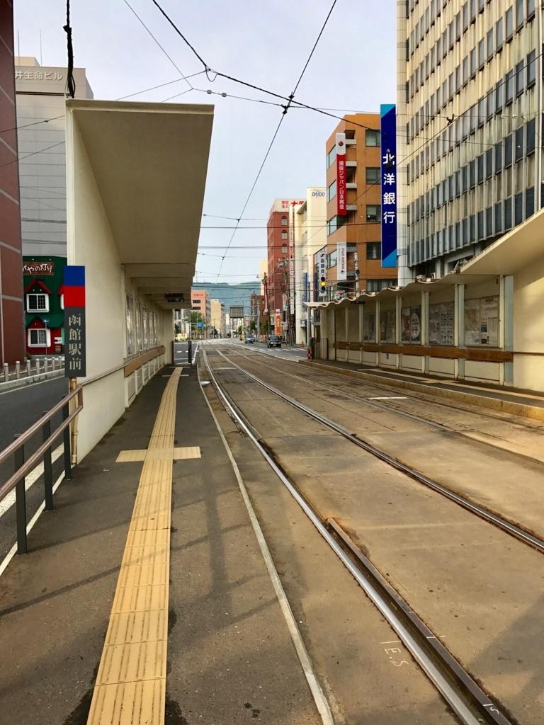 函館市電 「函館駅前」始発前のホーム