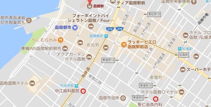 函館市電 今回乗車区間 マップ