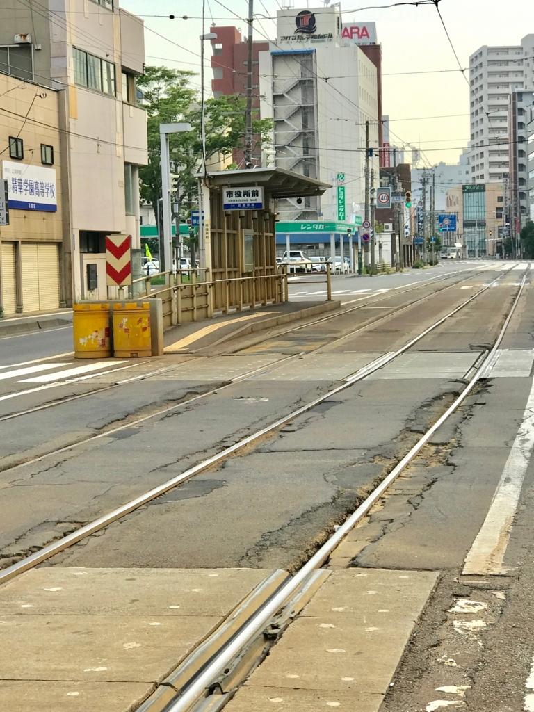函館市電 「松風町」駅 到着