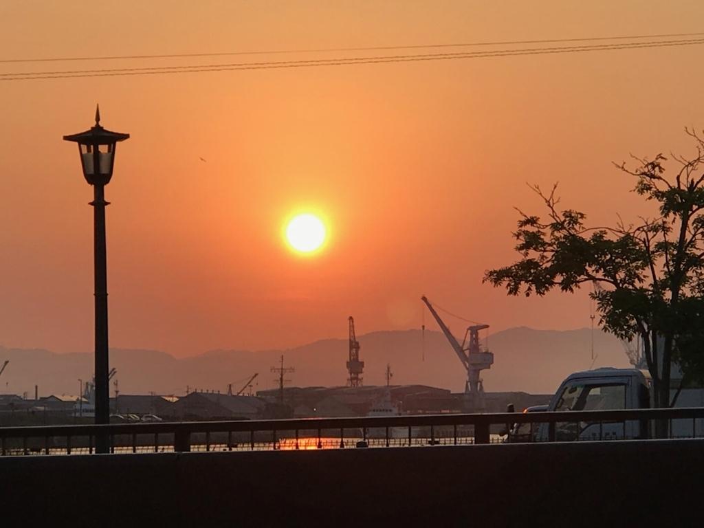 北海道函館 函館国際ホテル 近くからの夕日