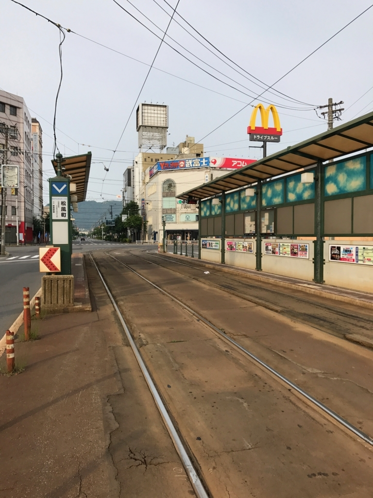 函館市電 「松風町」ホーム