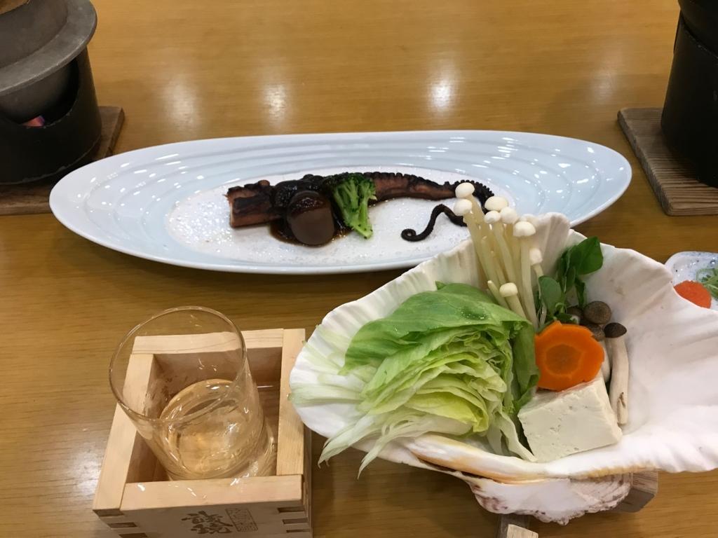「休暇村 大久野島」タコ会席 焼物:蛸の一本足ステーキ