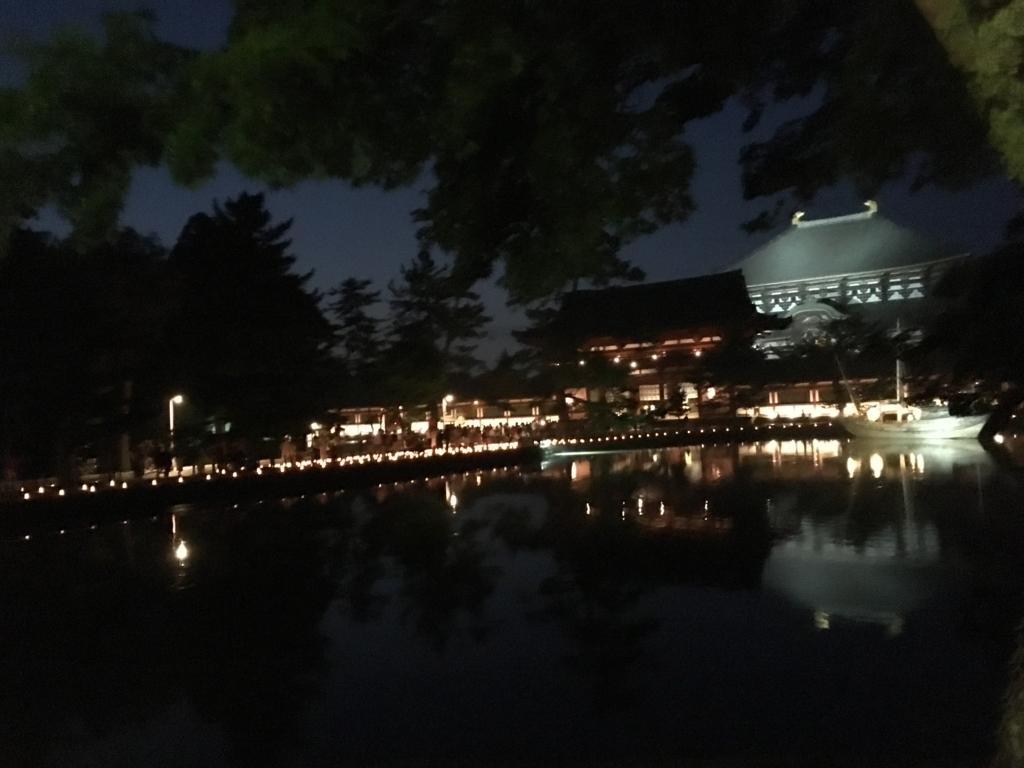 奈良県東大寺「大仏殿夜間参拝」ライトアップ 鏡池の対面より中門