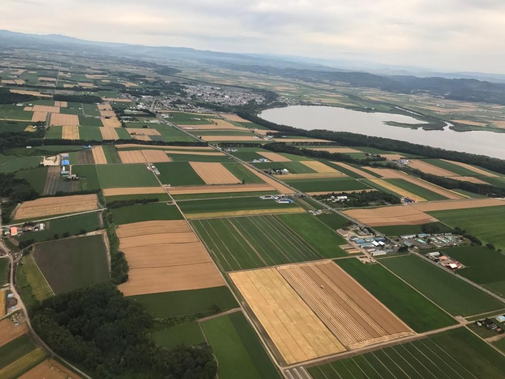 北海道 女満別空港着陸態勢 上空写真 網走湖