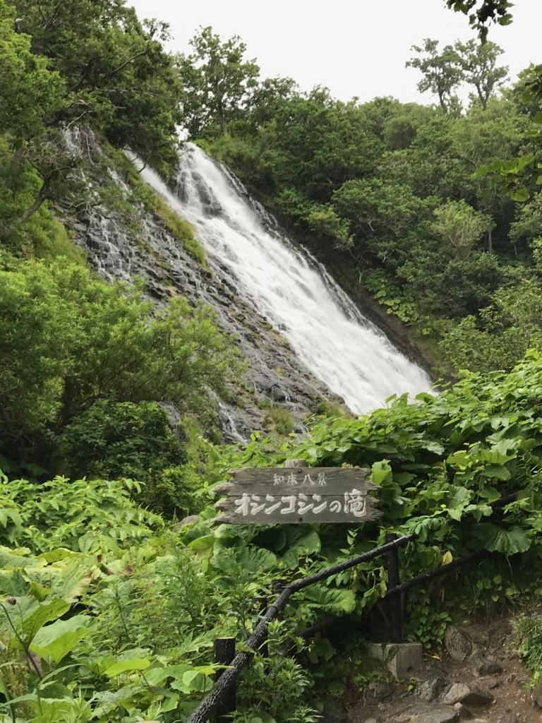 北海道 知床 オシンコシンの滝 階段途中 記念撮影場所