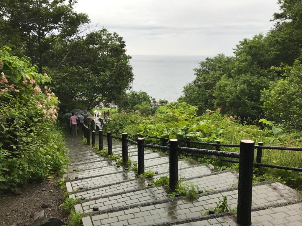 北海道 知床 オシンコシンの滝への 階段