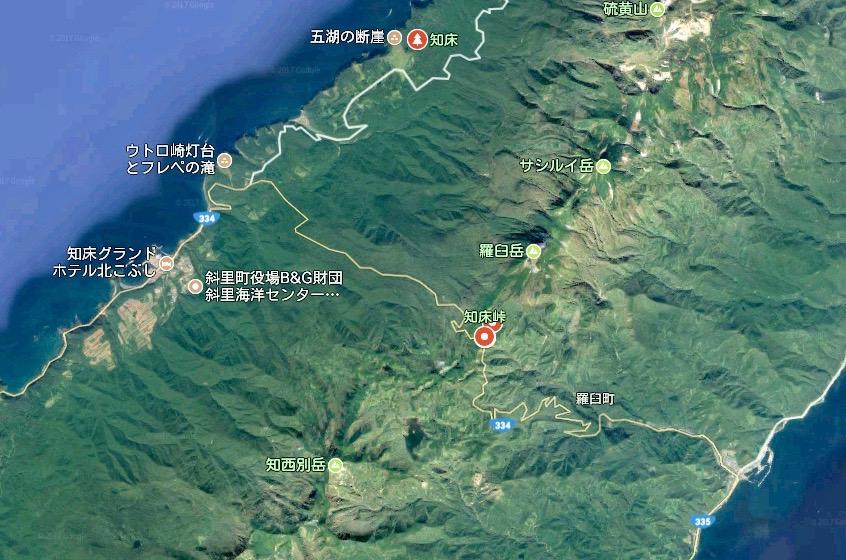 北海道 知床横断道 google マップ