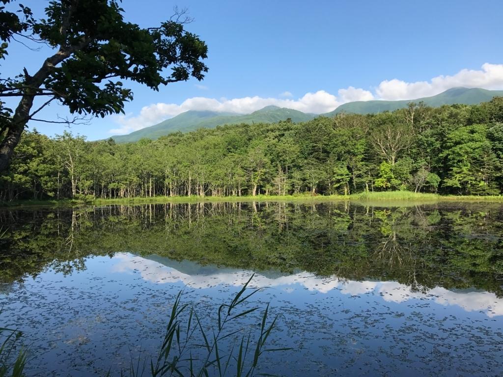 北海道 知床 五湖 湖に映る知床連峰