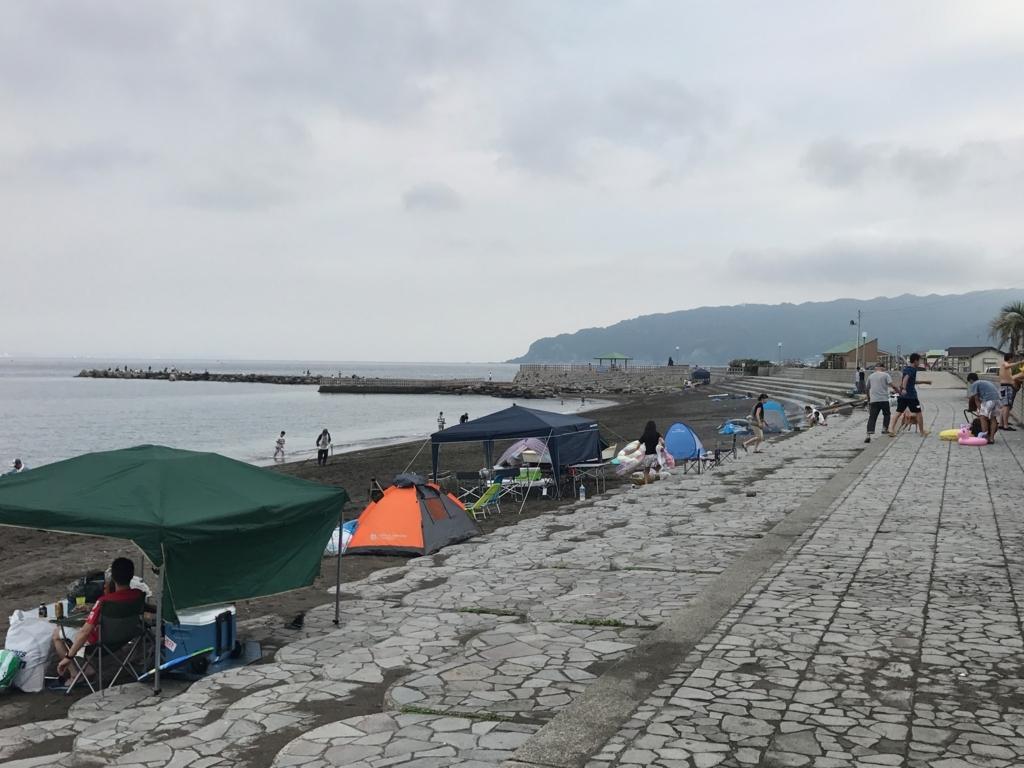 千葉県 内房 勝山海岸 8月中旬 浜辺でキャンプ