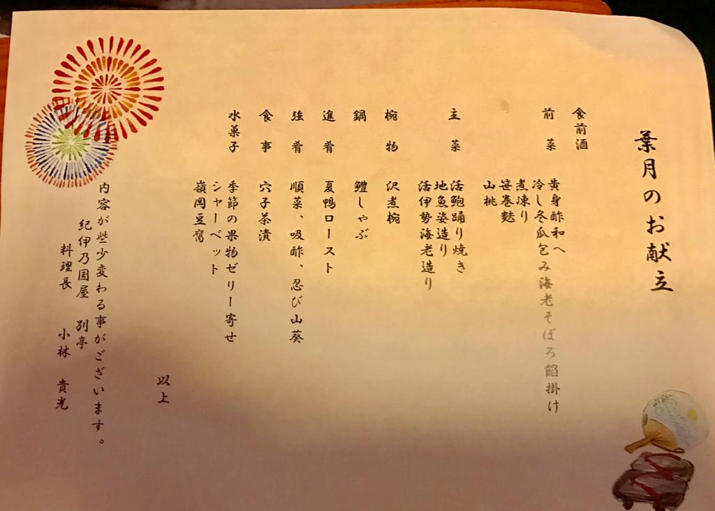 千葉県 安房勝山 「紀伊乃国屋 別亭」夕食 菜月 献立表