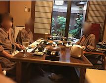 千葉県 安房勝山 「紀伊乃国屋 別亭」夕食時に記念撮影