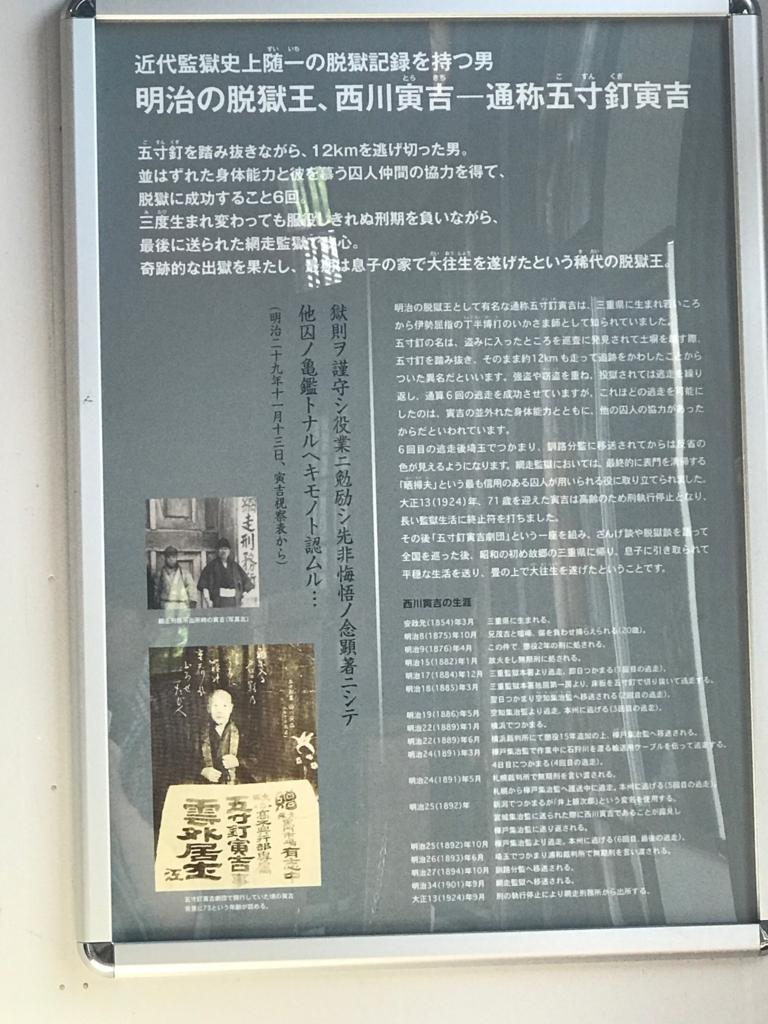 北海道 網走「博物館 網走監獄」脱獄王の説明