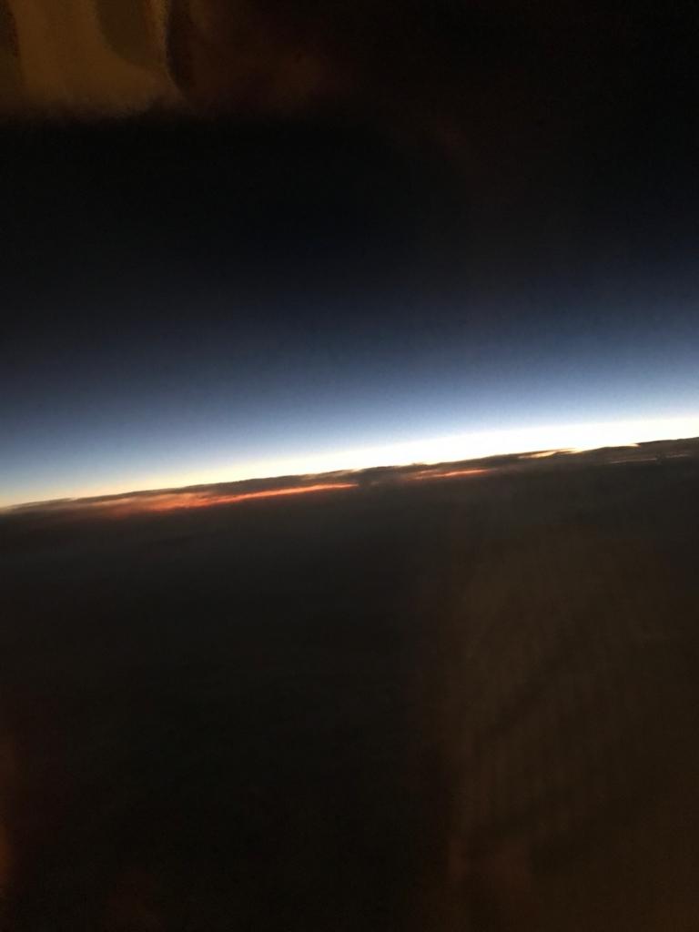 北海道 女満別空港から羽田空港 仙台市と福島市の間 日没