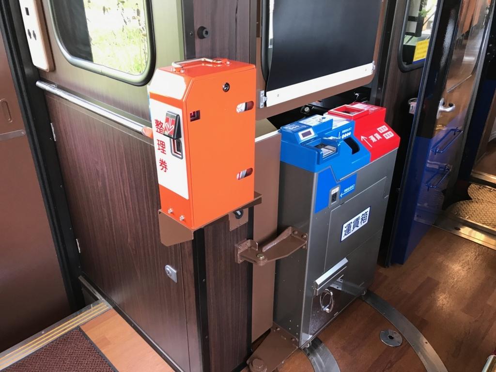 のと鉄道「のと里山里海3号」整理券発券機、運賃箱