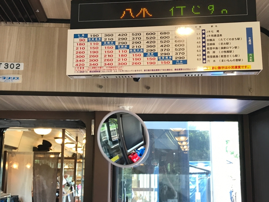 のと鉄道「のと里山里海3号」運賃表