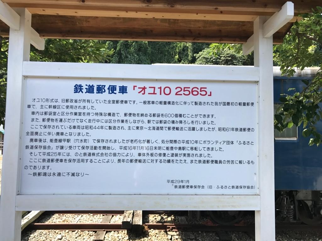 のと鉄道 能登中島駅 鉄道郵便列車「オユ10 2565」説明板