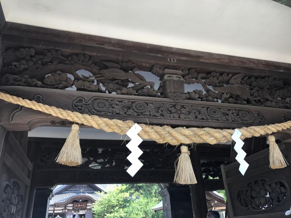 金沢「尾山神社」 神門 鶴と松の彫刻