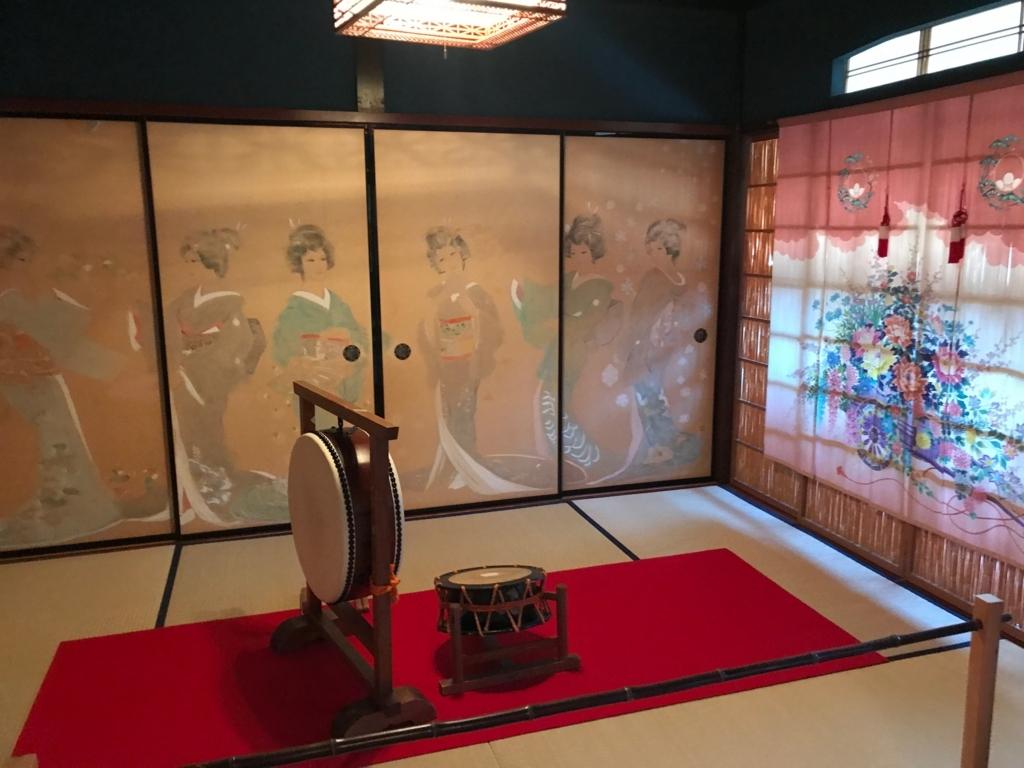 金沢 ひがし茶屋街 「懐華楼」 2階 「貴賓室 群青の間」 花嫁のれん