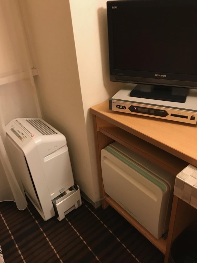 金沢マンテンホテル駅前 部屋には空気清浄機と冷蔵庫(空)