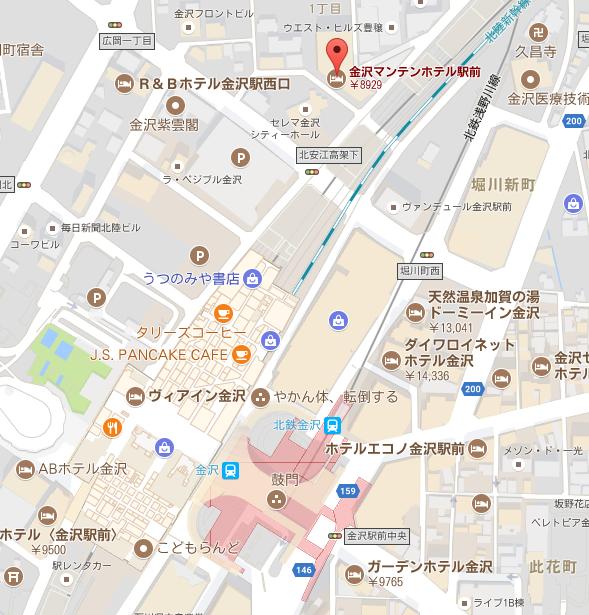 金沢マンテンホテル駅前 マップ