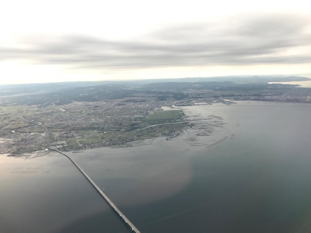 羽田ー岩国  ANA631便 空からの風景 東京湾 アクアライン