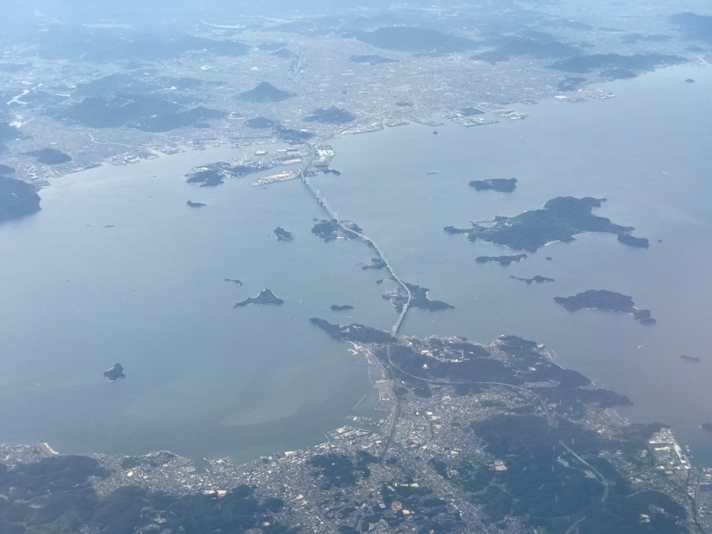 羽田ー岩国  ANA631便 空からの風景 瀬戸大橋