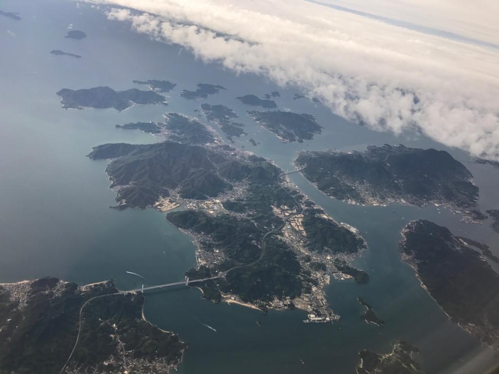 羽田ー岩国  ANA631便 空からの風景 「瀬戸内しまなみ海道」因島付近