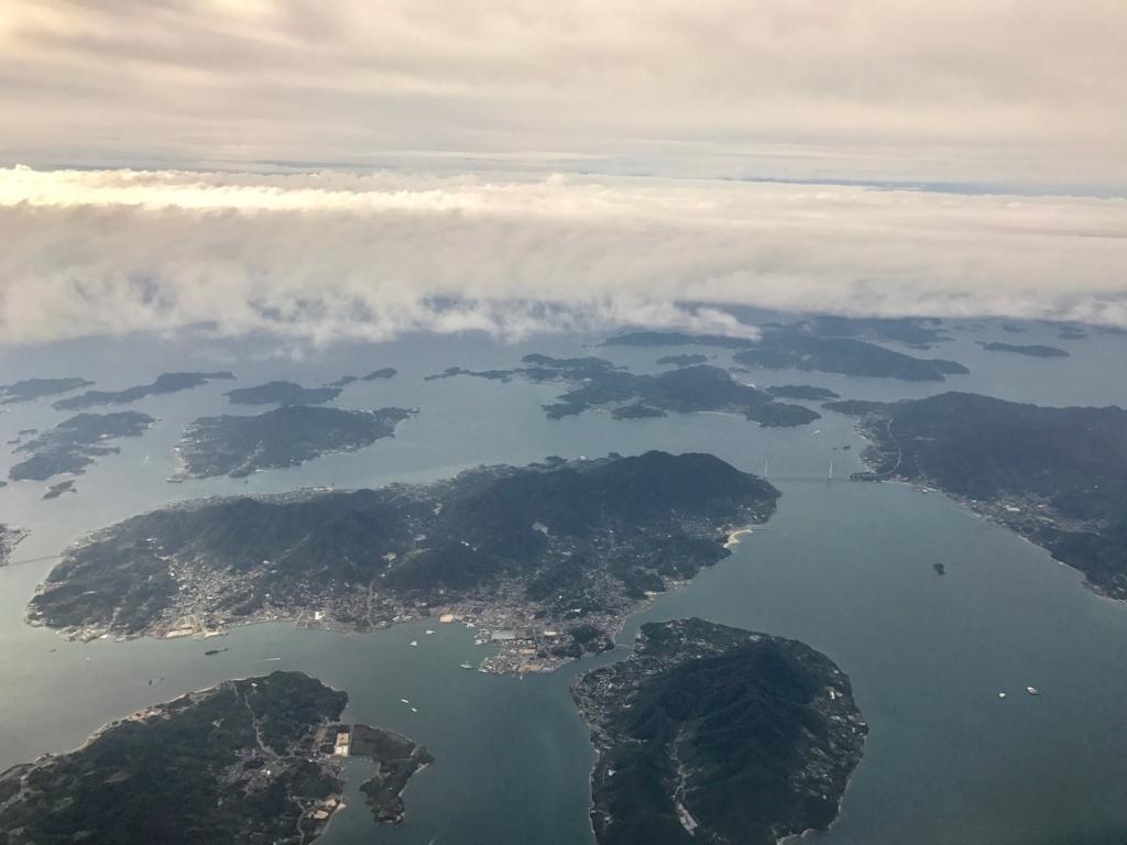 羽田ー岩国  ANA631便 空からの風景 「瀬戸内しまなみ海道」生口島付近