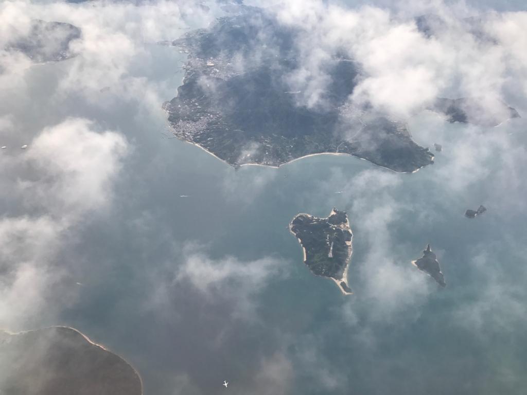 羽田ー岩国  ANA631便 空からの風景 うさぎ島(大久野島)発見