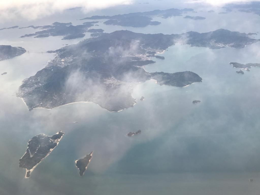 羽田から岩国へ空からの風景 うさぎ島(大久野島)