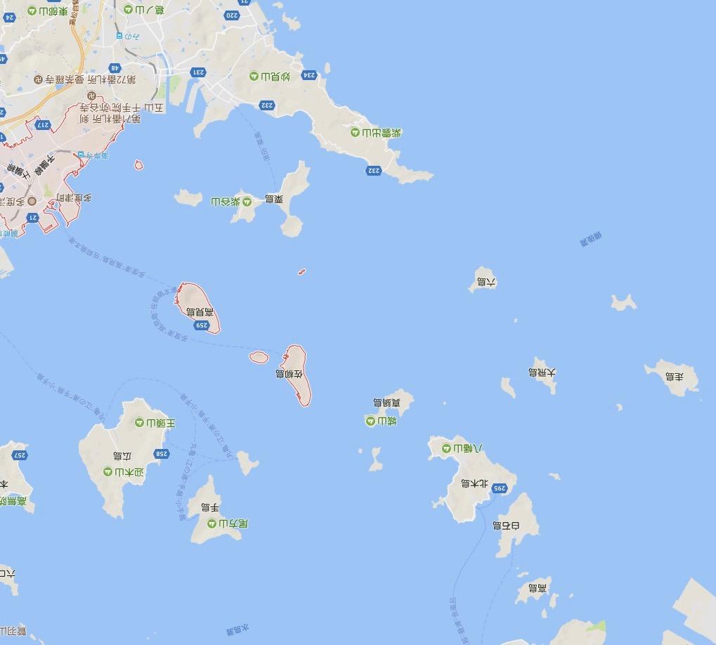 羽田ー岩国  ANA631便 空からの風景 ねこ島(佐柳島) google地図