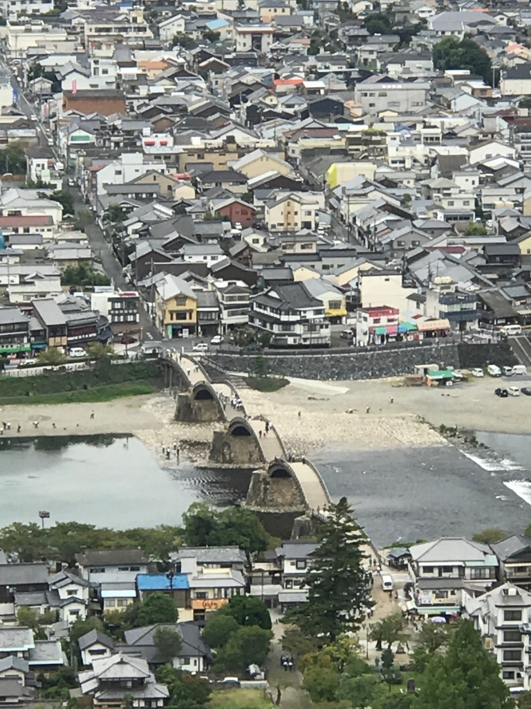 山口県 岩国 岩国城へのロープウエイ山頂駅付近からの「錦帯橋」拡大
