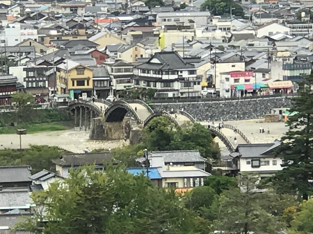 山口県 岩国 岩国城へのロープウエイ麓付近からの「錦帯橋」