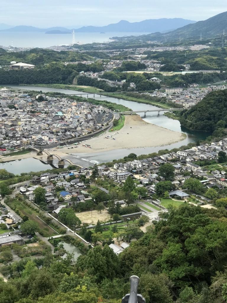山口県 岩国城 天守閣 4階 眺望 錦川には沢山の橋