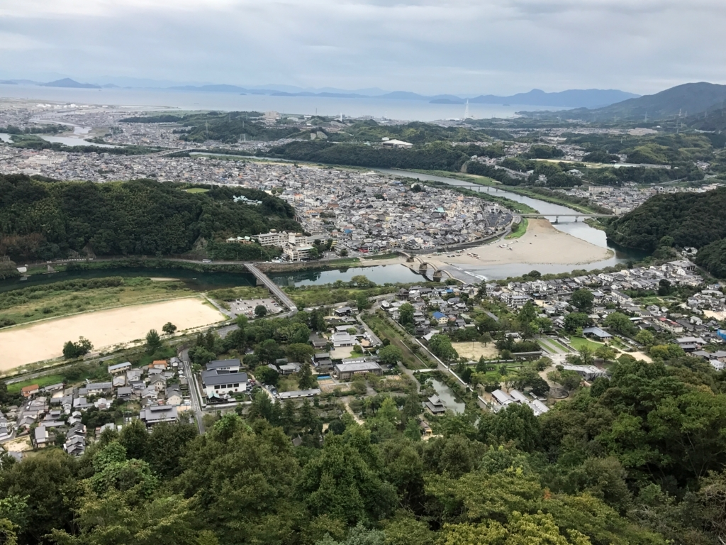 山口県 岩国城 天守閣 4階 眺望 「錦帯橋」から瀬戸内海