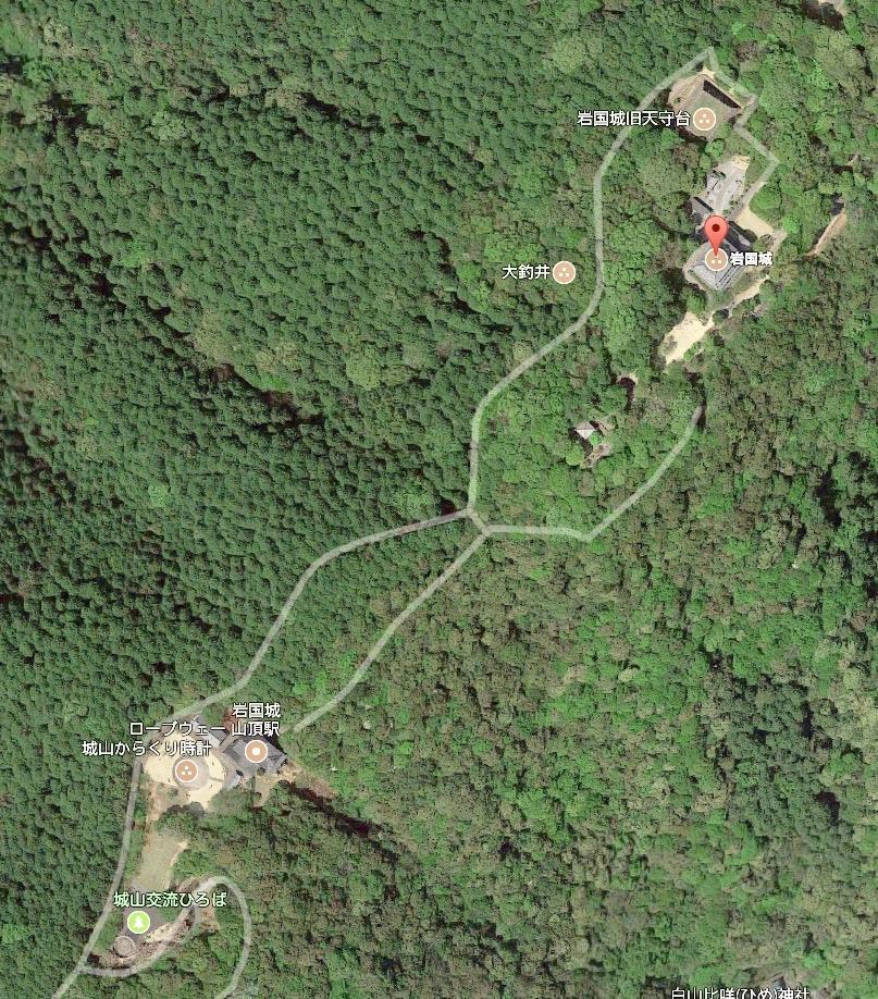 山口県 岩国 城山周辺 google 航空写真