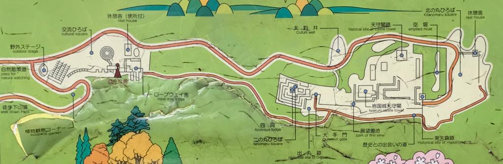 山口県 岩国 「城山おもしろぱあく」案内板 地図拡大