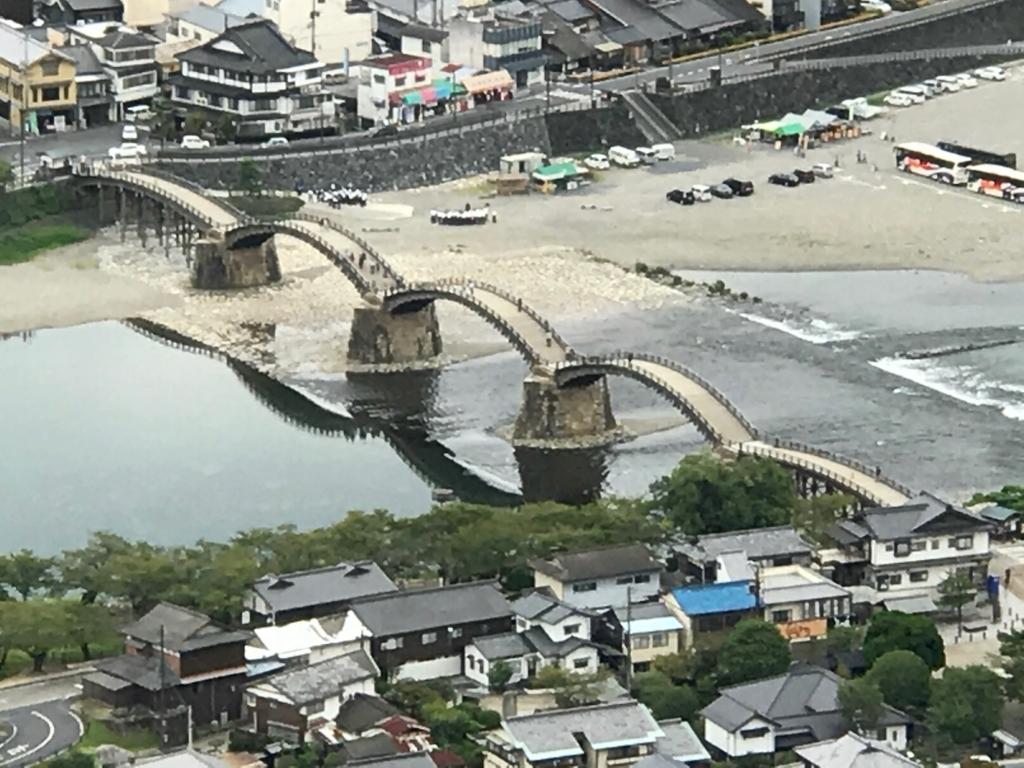 山口県 岩国城 天守閣 4階 眺望 「錦帯橋」拡大