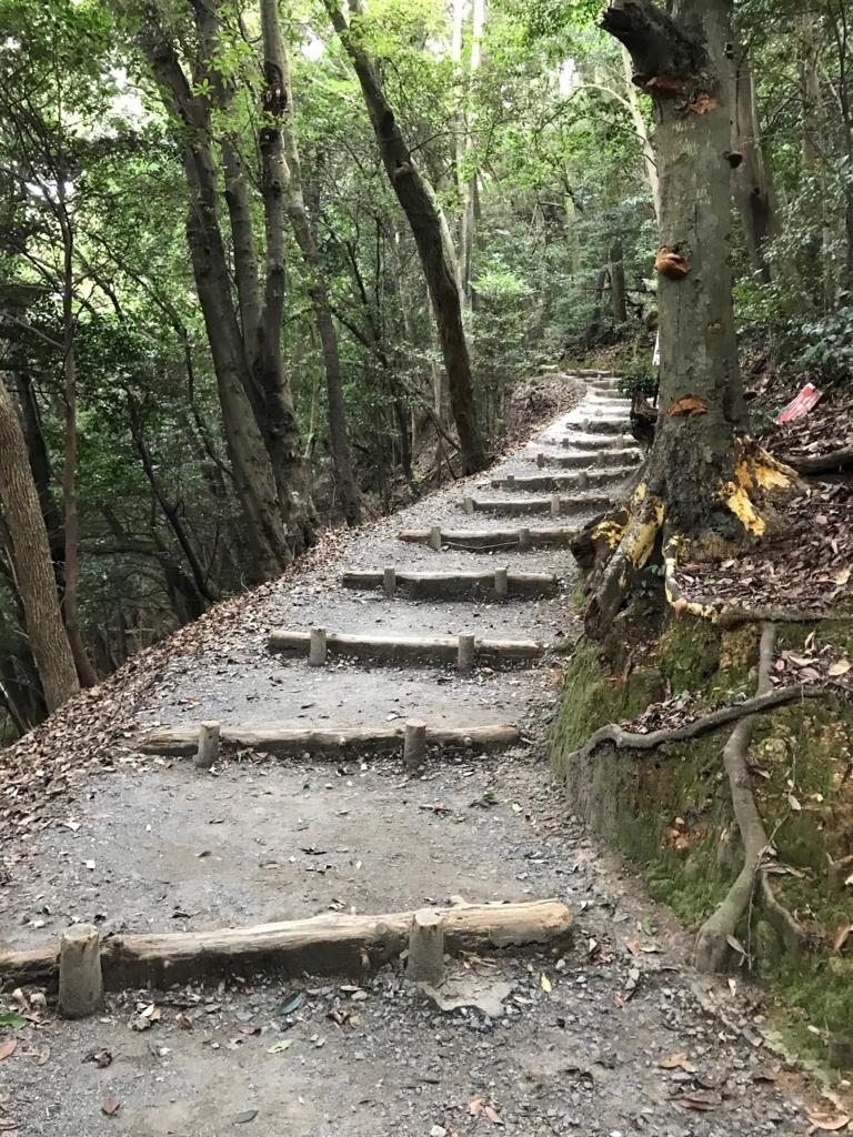 山口県 岩国城への山道 広い道への交差点より山頂駅へ