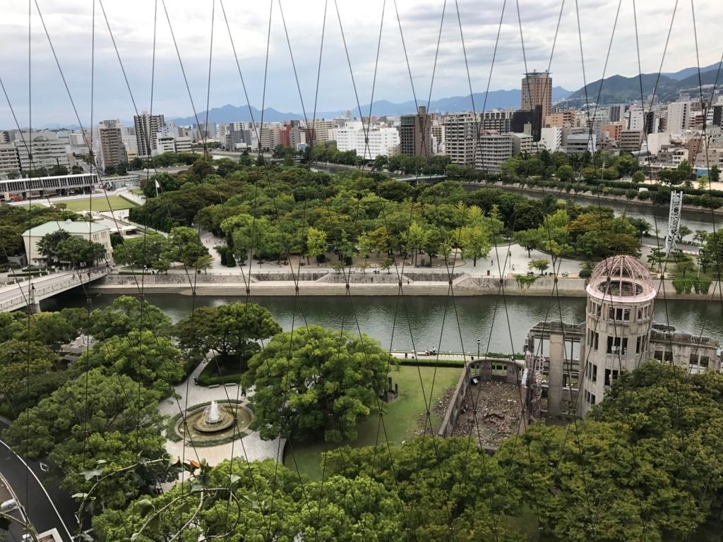 広島県 「おりづるタワー」屋上 「ひろしまの丘」から 原爆ドーム